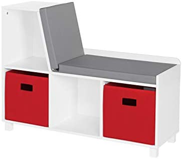 RiverRidge Home Book Nook Collection Kids Cubbies with 2pc Storage Bench, White with Red Bins