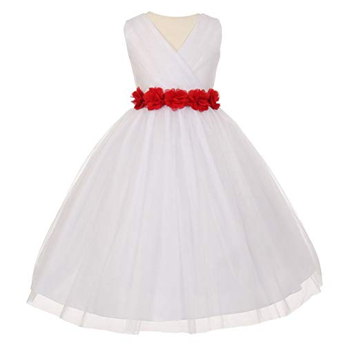 Big Girls White Red Chiffon Flowers Tulle Junior Bridesmaid Dress - Couture Allure Wedding Dresses
