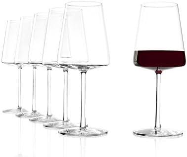 La copa de vino tinto con una forma llamativa y moderna, base plana, elegante cristal tallado sin pl