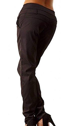 Slim Invernali Monocromo Chic Accogliente Due Cute A Tasche Tempo Dei Lunga Fit Eleganti Pants Matita Libero Donna Nero Pantaloni C0p88