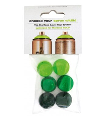 Montana 6 Green Cap Set (Montana Gold Spray Paint Set)