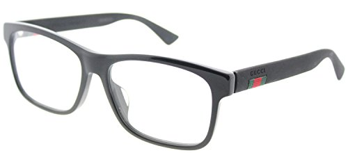 Gucci GG 0176O 001 Black Plastic Rectangle Eyeglasses - Frames Gucci Men