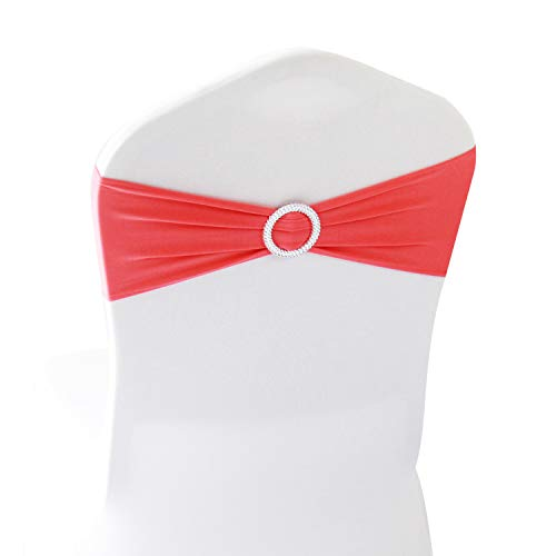 Coral Spandex Chair Bands Sashes - 100 pcs Wedding Banquet Party Event Decoration Chair Bows Ties (Coral, 100