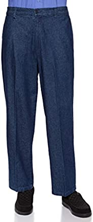 AKA Half Elastic Wrinkle Free Flat Front Men's Slacks – Relaxed Fit Twill Casual Pant -