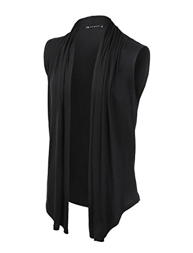 uxcell Men Casual Open Front Sleeveless Irregular Hem Cardigan Vest with no Button Black M US 38