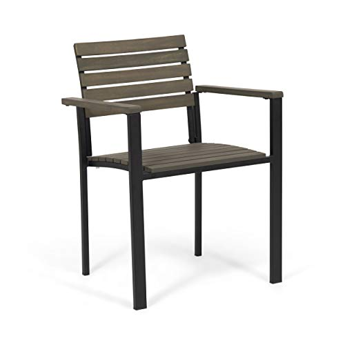 Great Deal Furniture Alberta Outdoor Wood and Iron Dining Chairs (Set of 2), Gray and Black
