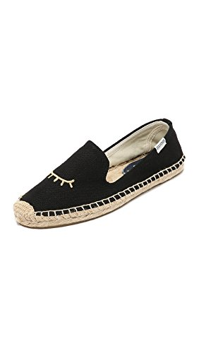 Soludos Women's Wink Embroidered Smoking Slipper Black Gold