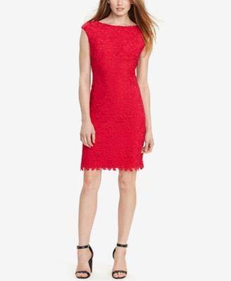 LAUREN RALPH LAUREN Womens Crochet Pattern Casual Dress Pink 14 (Ralph China Patterns Lauren)