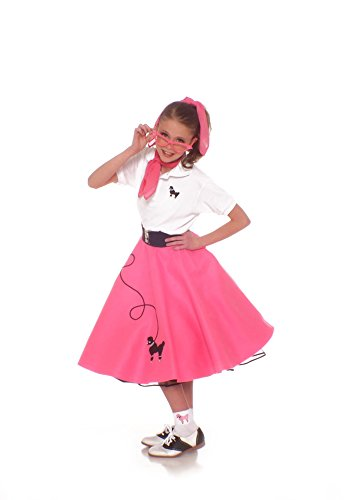Hip Hop 50s Shop 7 Piece Child Poodle Skirt Outfit, Size 10 Hot Pink (50s Pink Poodle Girls Costume)