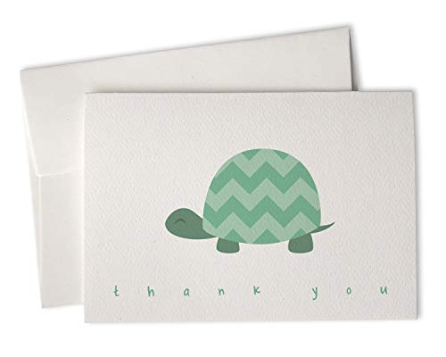 Green Chevron Turtle Baby Thank You Cards - 24 Cards & Envelopes
