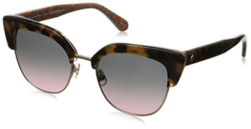 - kate spade women's karri/s cateye sunglasses, havana pattern green/gray fuschia, 53 mm