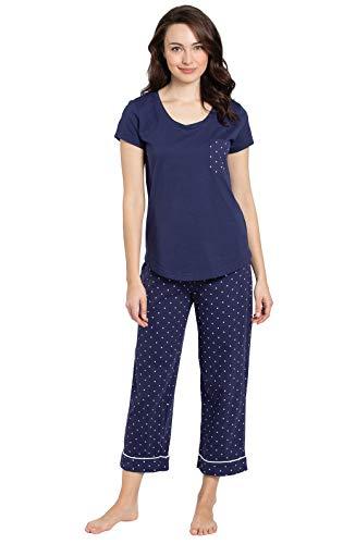PajamaGram Womens PJs Sets Cotton - Women Summer Pajamas, Navy, S, 4-6