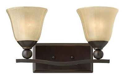 Hinkley 5892OB Bolla Collection Bath Light, Olde Bronze Finish - Champagne Rust Seedy Glass