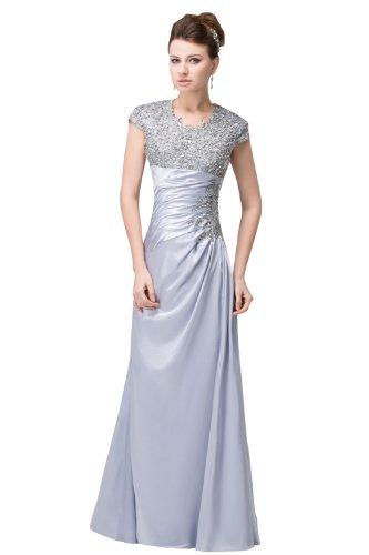 herafa p32719-14 Prom Dresses Elegant Crewneck Cap Sleeve Lace Delicate Beading Long 0 A-Line Purple