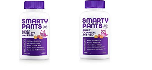 SmartyPants Adult Complete and Fiber Daily Gummy Vitamins: Multivitamin 120 Count(Pack of 2) Total 240 for $<!--$39.99-->