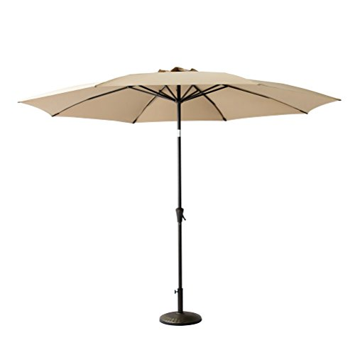 C-Hopetree 10ft Patio Outdoor Market Umbrella Parasol with Crank Winder, Fiberglass Rib Tips, Push Button Tilt, Beige (Tilting Parasol)