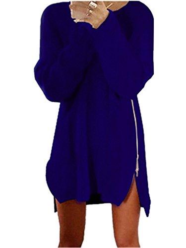 Xuan2Xuan3 Women Side Zipper Long Casual Loose Tunic Knit Pullover Sweater Dress Jumper XL Blue