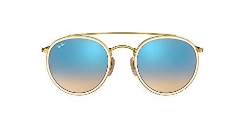 Ray-Ban RB3647N Round Double Bridge Sunglasses, Gold/Blue Gradient Flash, 51 mm