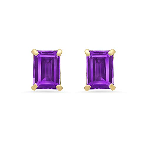 (14k White or Yellow Gold Solitaire Emerald-Cut Amethyst Stud Earrings (7x5mm))