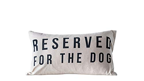 Creative Co-op Reserved for The Dog Cotton Pillow, White (Dog Designer Pillow)