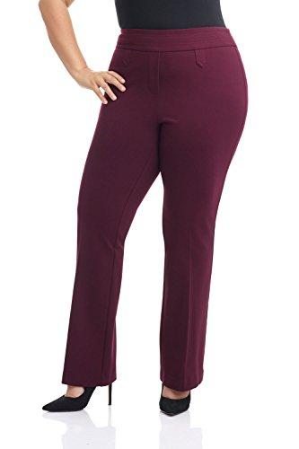 Rekucci Curvy Woman Secret Figure Knit Bootcut Plus Size Pant w/Tummy Control (16W,Burgundy) ()