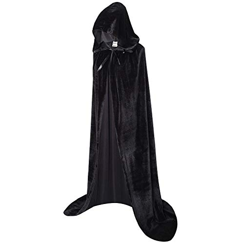 OurLore Unisex Full Length Hooded Robe Cloak Long Velvet Cape Cosplay Costume 59 inch(Black)]()