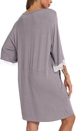 KAMONG Women's Nightgown Short Sleeve Sleep Dress Nightshirt Loungewear Cotton Lace Nightwear Sleepwear S-XXL