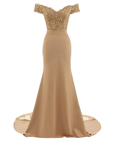 Mermaid Long Banquet Dresses for Women Evening Off The Shoulder Bridal Reception Dress with Applique Champagne 18W