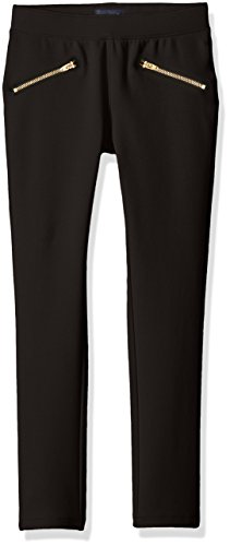 The Children's Place Little Girls' Stretch Zipper Ponte Pant, Black 69345, 5 by The Children's Place