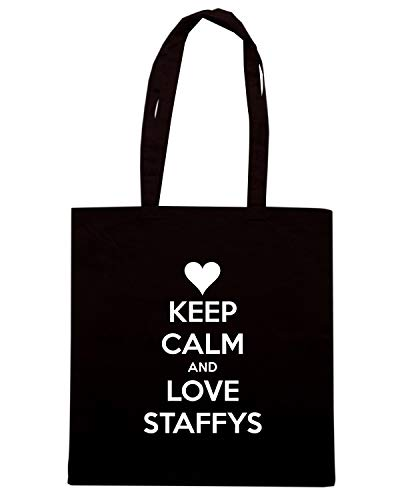 Borsa Shopper Nera TKC2449 KEEP CALM AND LOVE STAFFYS