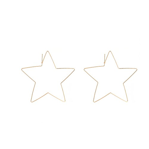 Stainless Steel Rose Gold Plated Heart Shape Five Point Star Hinged Large Hoop Earring,Anti-allergy -