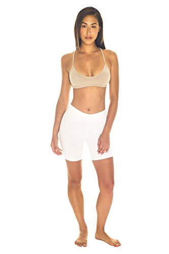 Women's Stretch Jersey Bike Short in Regular and Plus Size (XL, White)