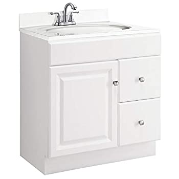 Image of Home Improvements Design House 545061 Wyndham White Semi-Gloss Vanity Cabinet with 1-Door and 2-Drawers, 30-Inches Wide by 31.5-Inches Tall by 18-Inches Deep