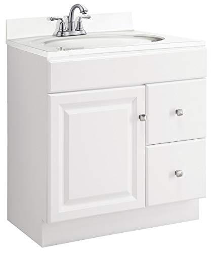(Design House 545061 Wyndham White Semi-Gloss Vanity Cabinet with 1-Door and 2-Drawers, 30-Inches Wide by 31.5-Inches Tall by 18-Inches Deep)