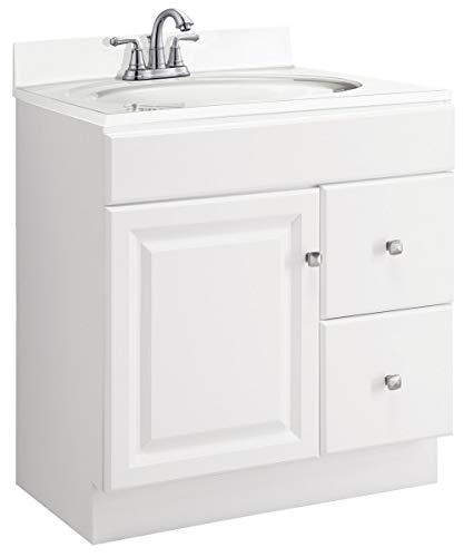 Design House 545061 Wyndham White Semi-Gloss Vanity Cabinet with 1-Door and 2-Drawers, - Vanity Combo Bathroom Mirrors