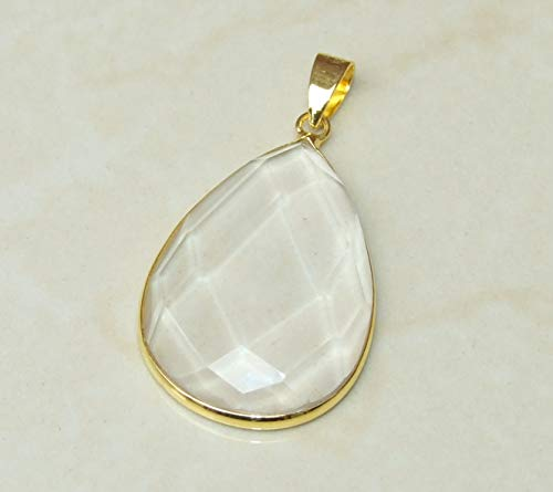(Clear Quartz Pendant - Crystal Quartz Pendant - Teardrop - Faceted - Raw Quartz - Gold Plated Bezel and Bail - 25-30mm x 35-40mm)
