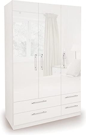 lowest price a090e 6a2a7 Angel 3 Door 4 Drawer Wardrobe Storage High Gloss White | Bedroom Furniture