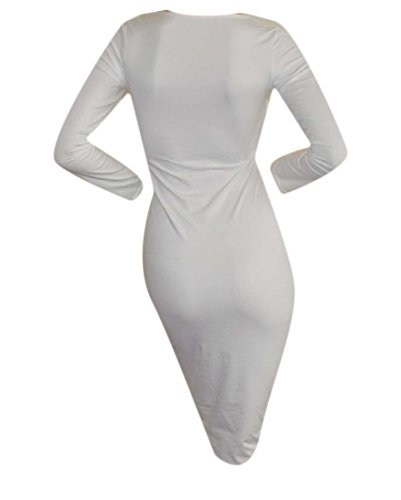 Dresses Neck Women's White Long Bodycon V Deep Sexy Club Straps Sleeve Coolred 6vAOA