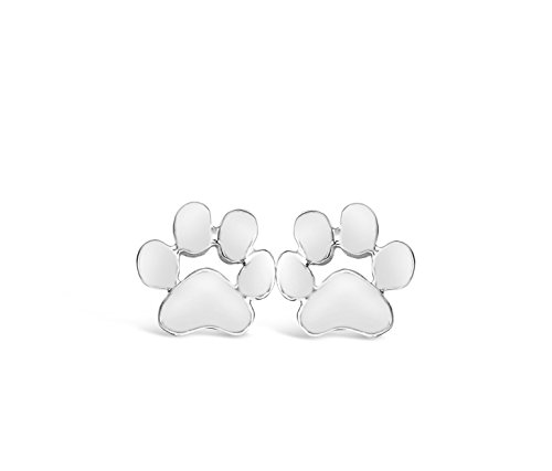 Paw Dog Jewelry (Rosa Vila Paw Print Earrings, Dainty Dog Earrings, Puppy Earrings for Owners of All Dog Breeds, Dog Paw Earrings for Women, Veterinarian Gifts for Women (Silver Tone))