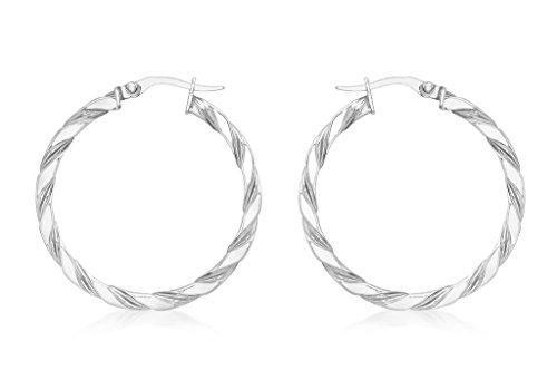 Boucles d'oreilles créoles or blanc 9carats 30mm Twist