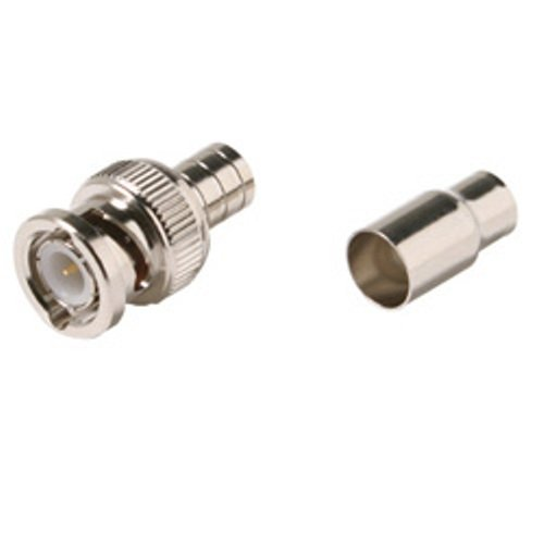 2 Piece BNC Plug Crimp Connector for RG6 - 10 Pack