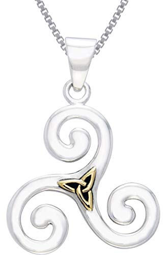 Triskele Sterling Silver (Jewelry Trends Celtic Triskele with Gold-Plated Trinity Knot Sterling Silver Pendant Necklace 18