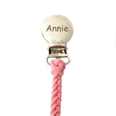 Pacifier Clip (Pink) CUSTOMIZE NOW Engraved with Babys NAME OR MONOGRAM - Leather Suede Pacifier Clip by Pacidoodle
