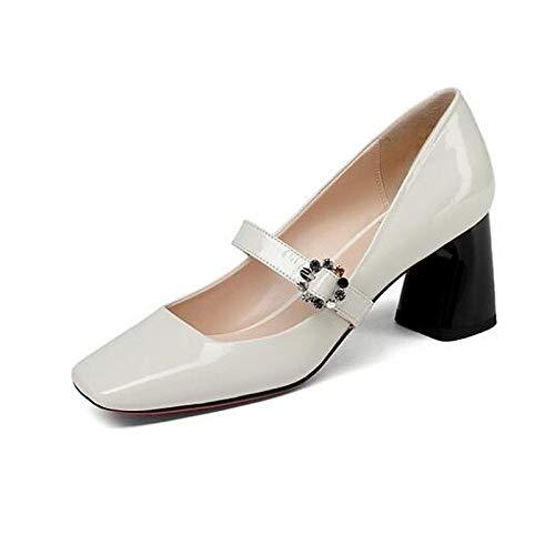 ZHZNVX Zapatos de Mujer Nappa Leather Spring Comfort Tacones Chunky Heel Blanco/Negro White