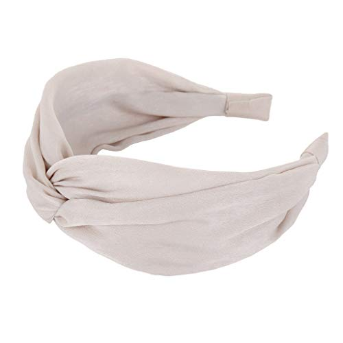 Pengy Headbands for Womens Headwraps Knitted Wide Headbands Twist Knot Cross Stretchy Solid Simple Hair Headwear Beige