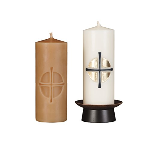Beeswax Christos™ Candle Set; 2-1/2'' x 6'' candles with base; Sollemnis™ design in 22K Gold and blue onyx. Handcrafted in New England. Made in America. by Marklin Candle