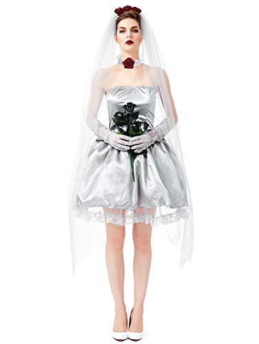 NonEcho Women Gothic Deluxe Cemetery Ghostly Bride Costume for Halloween ()