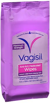 Vagisil Maximum Strength Anti-Itch Medicated Wipes - 20 ct, Pack of 5 by Vagisil