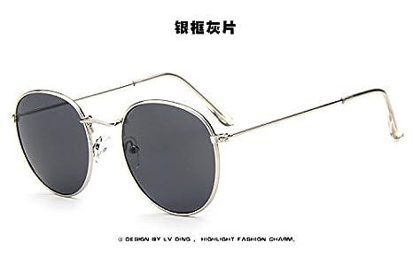 Sunyan Star Zheng Jia im gleichen Stil rosa Sonnenbrille Frau tide Koreanische Version des alten runden Rahmen kleine Gesicht Mode net Rot Sonnenbrille, Schwarz-Rahmen, grau