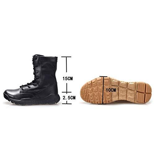 Hombre Ultra Ligeras Aire Zapatos Caminan Cuero Cómodas Combate Trabajo  Masculinos Brightblack Botas Militares La Que Antideslizantes De ... 95dc334801e9